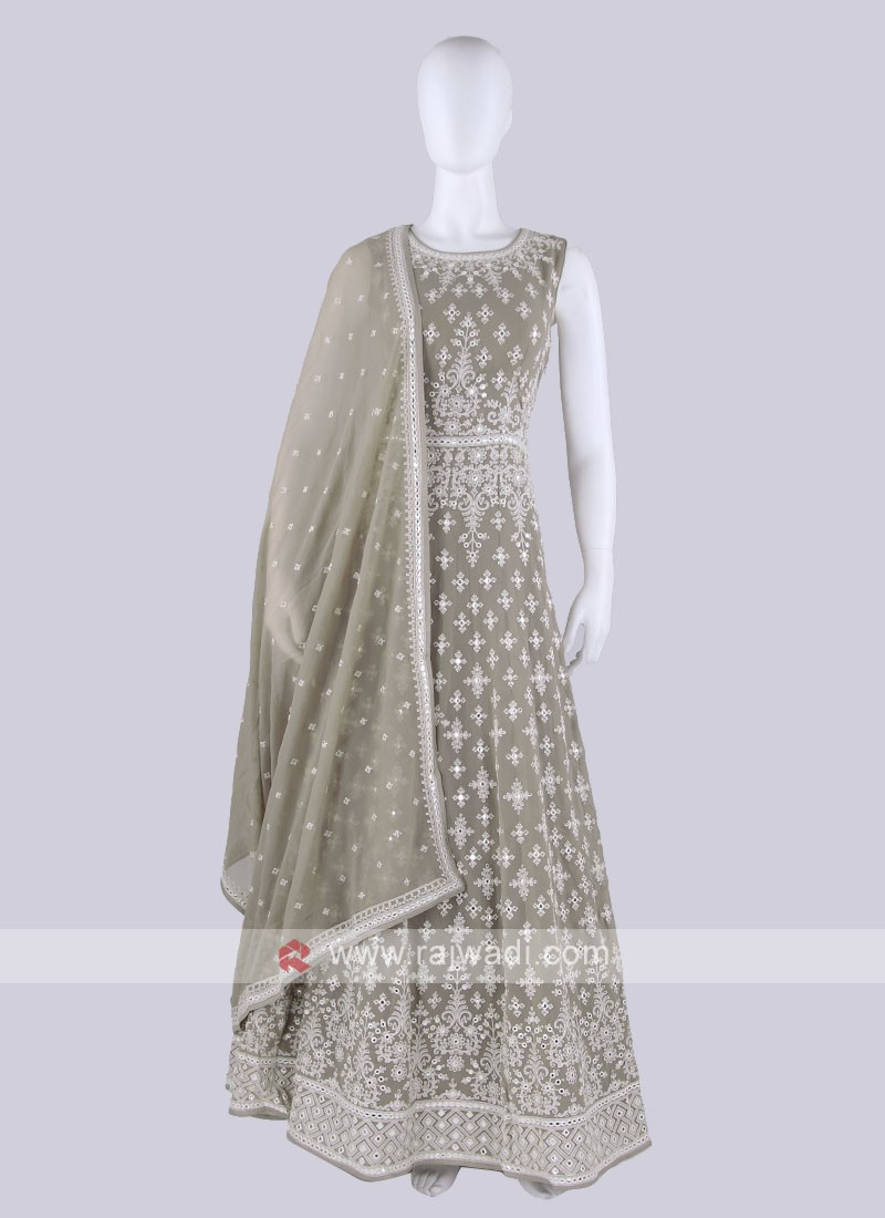 Light Grey Color Anarkali Suit with dupatta