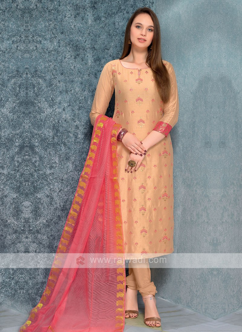 Biscuit Color Printed Kurta with Churidar & Dupatta