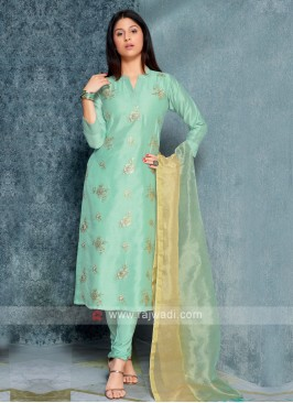 Seagreen Color Printed Kurta with Churidar & Dupatta