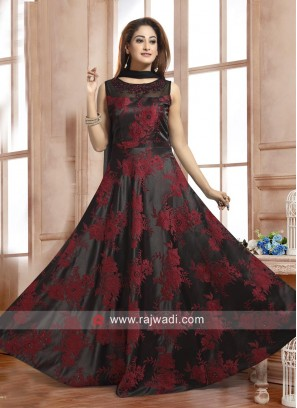 Black Anarkali Suit with Maroon Embroidery Work