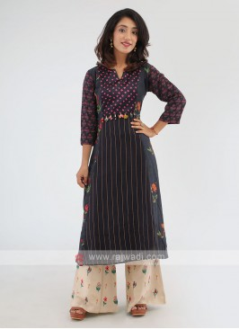 Black And Beige Color Kurti With Palazzo
