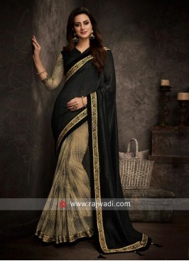 Black and Beige Half Saree