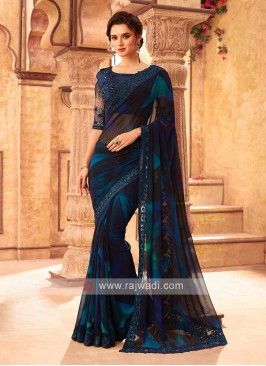 Black And Blue Chiffion Saree