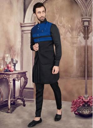 Black And Blue Color Nehru Jacket Set