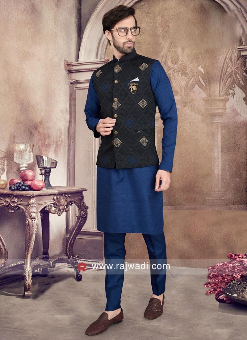 Black And Blue Nehru jacket Set