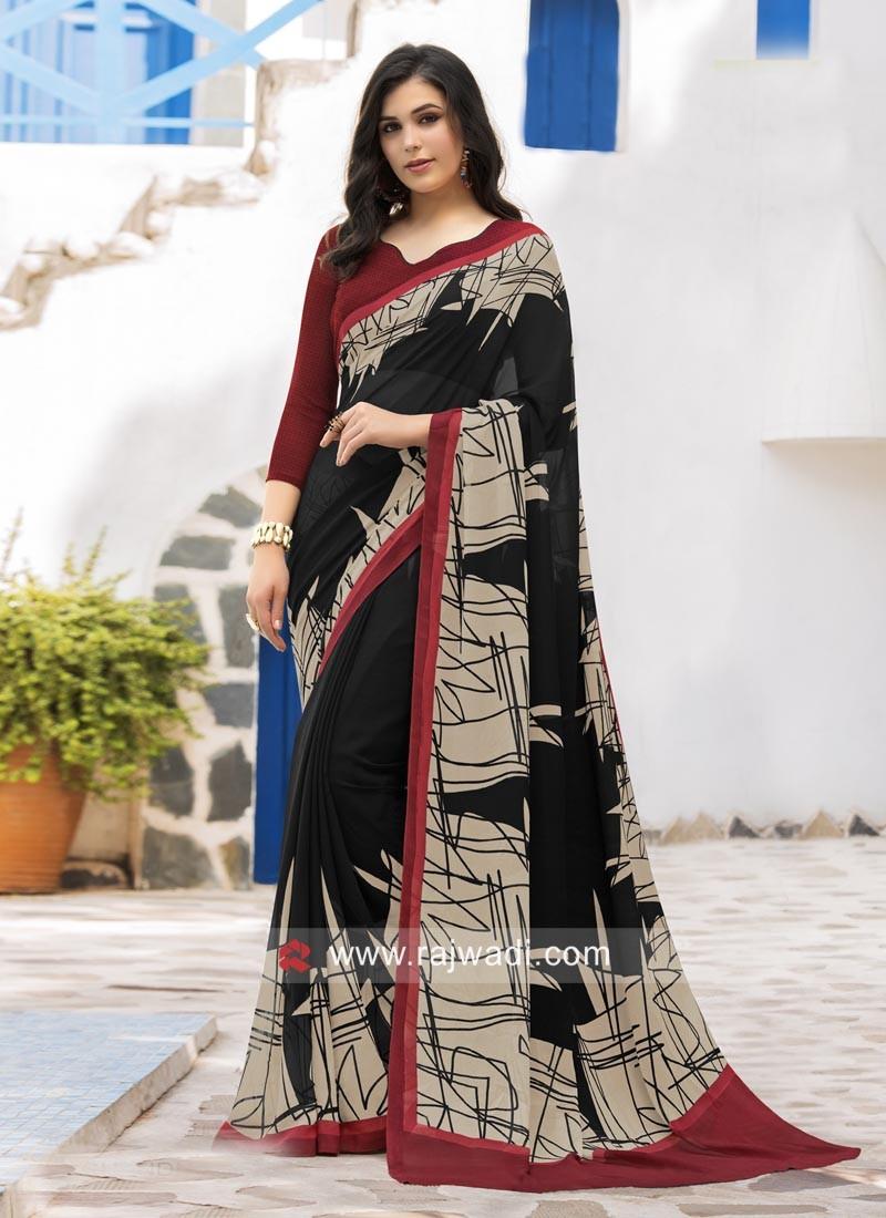 Black and Brown Printed Saree