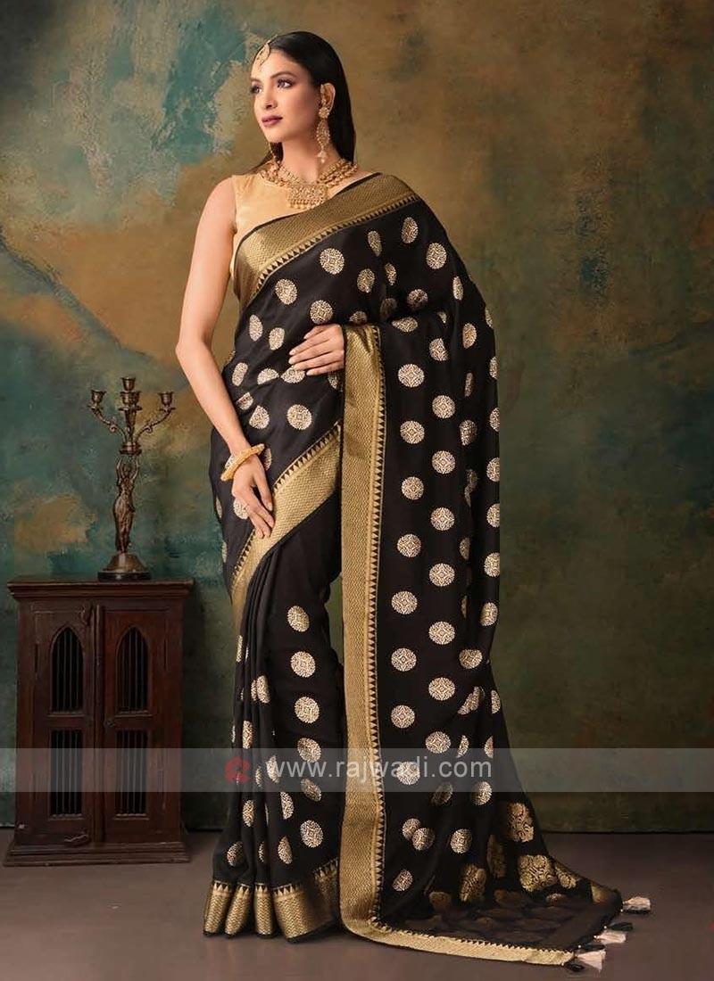 black and golden dolla foil saree