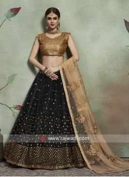 Black and Golden Lehenga Choli