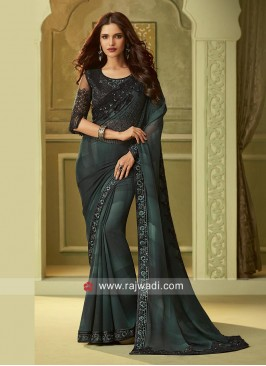 Black and Green Chiffon Saree