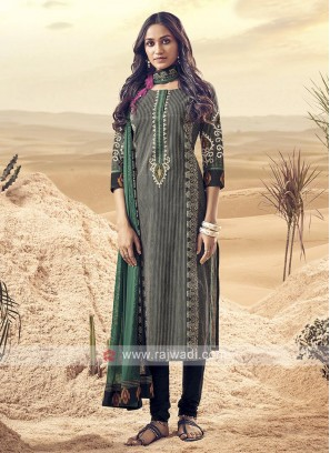 Shagufta Black And Green Cotton Churidar Salwar Suit