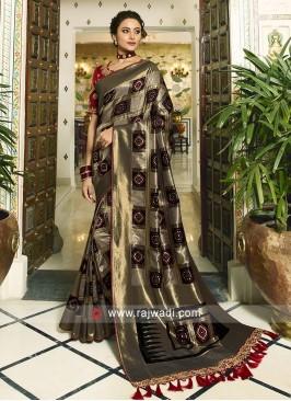 Black and Grey Banasari silk saree with dark red zari woven blouse.