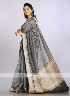 black and grey checks saree