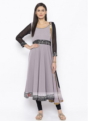 black and grey color anarkali style suit