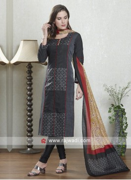 Black and grey color salwar suit with dupatta