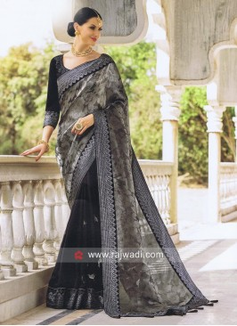 Black and Grey Foil Print Half Saree