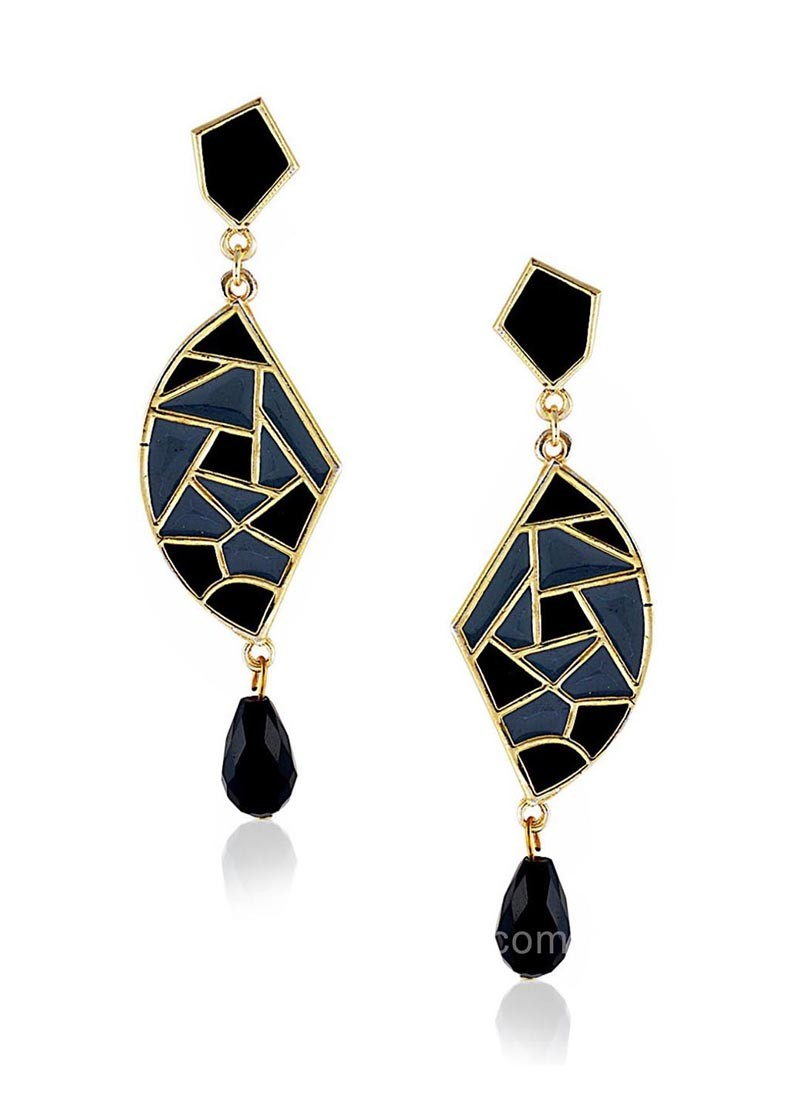 Black and Grey Mosaic Dangler Earrings