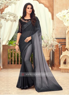 Black And Grey Shaded Chiffon Saree