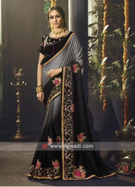 Black and Grey Shaded Embroidered Saree