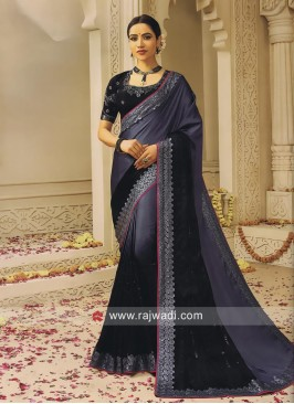 Black and Grey Shaded Lace Work Saree
