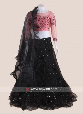 Black and Light Pink Heavy Lehenga Choli