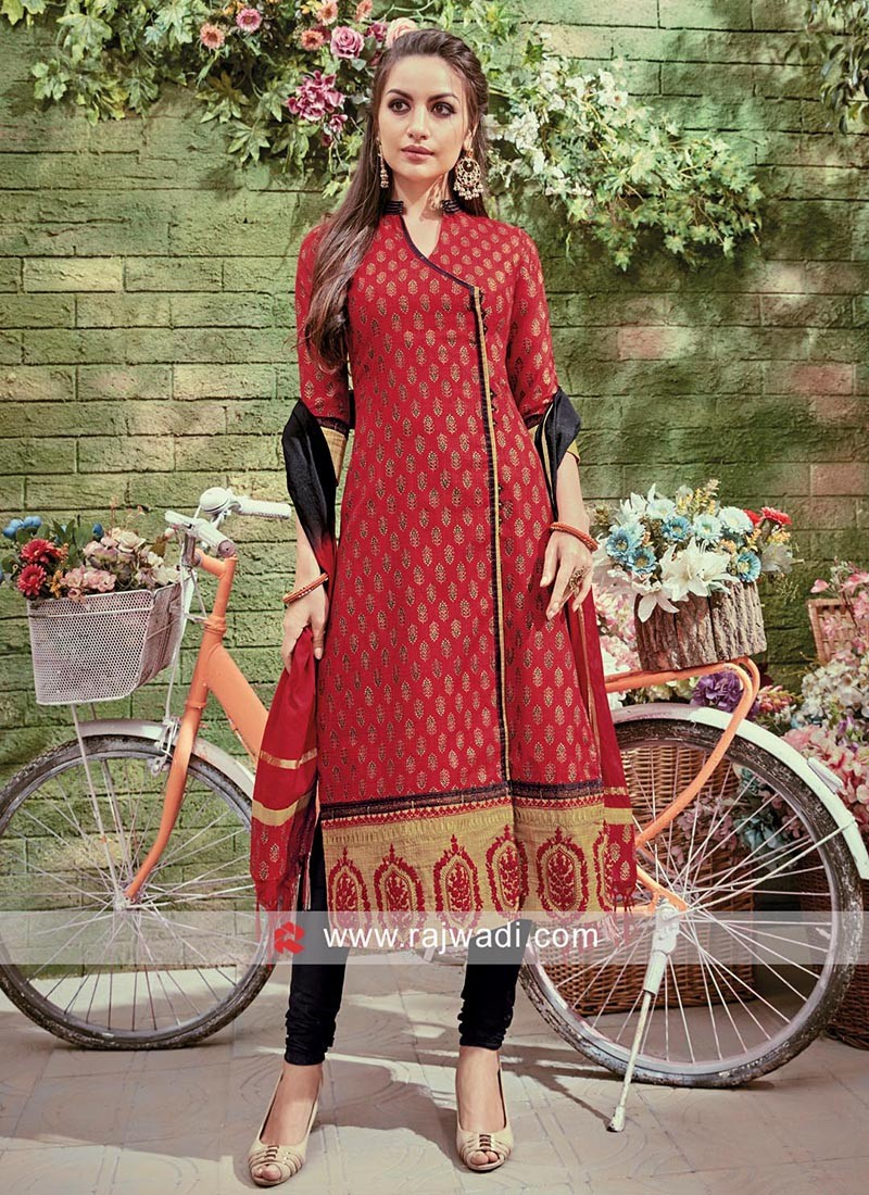 Black and Maroon Angrakha Style Salwar Suit