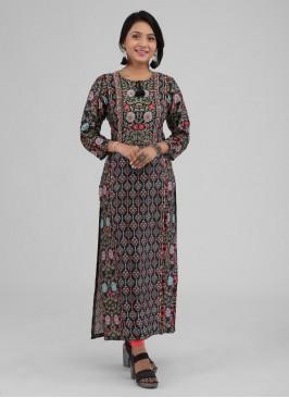 Black And Multi-Color Satin Silk Kurti