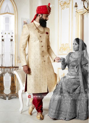 Brocade Silk Cream Color Sherwani
