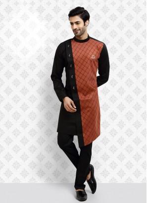 Black And Orange Color Kurta Pajama