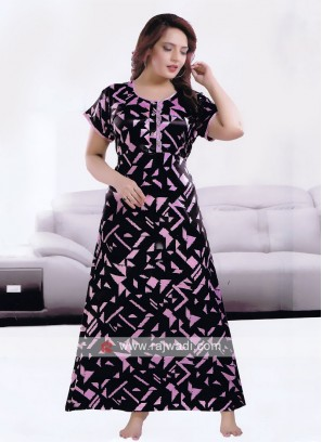Black And Pink Color Satin Nighty