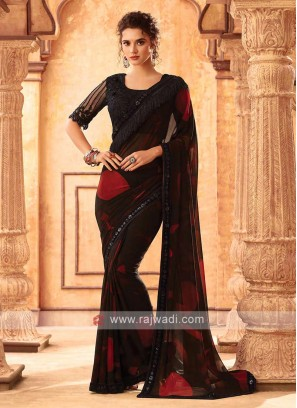 Black And Red Chiffion Saree