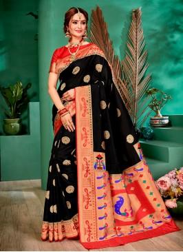 Black And Red Color Banarasi Silk Saree