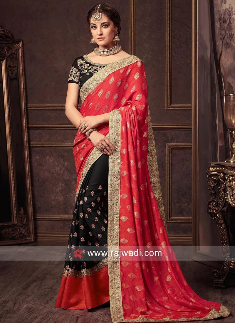 Black and Red Half Sari