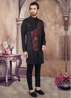Black And Red Nehru Jacket