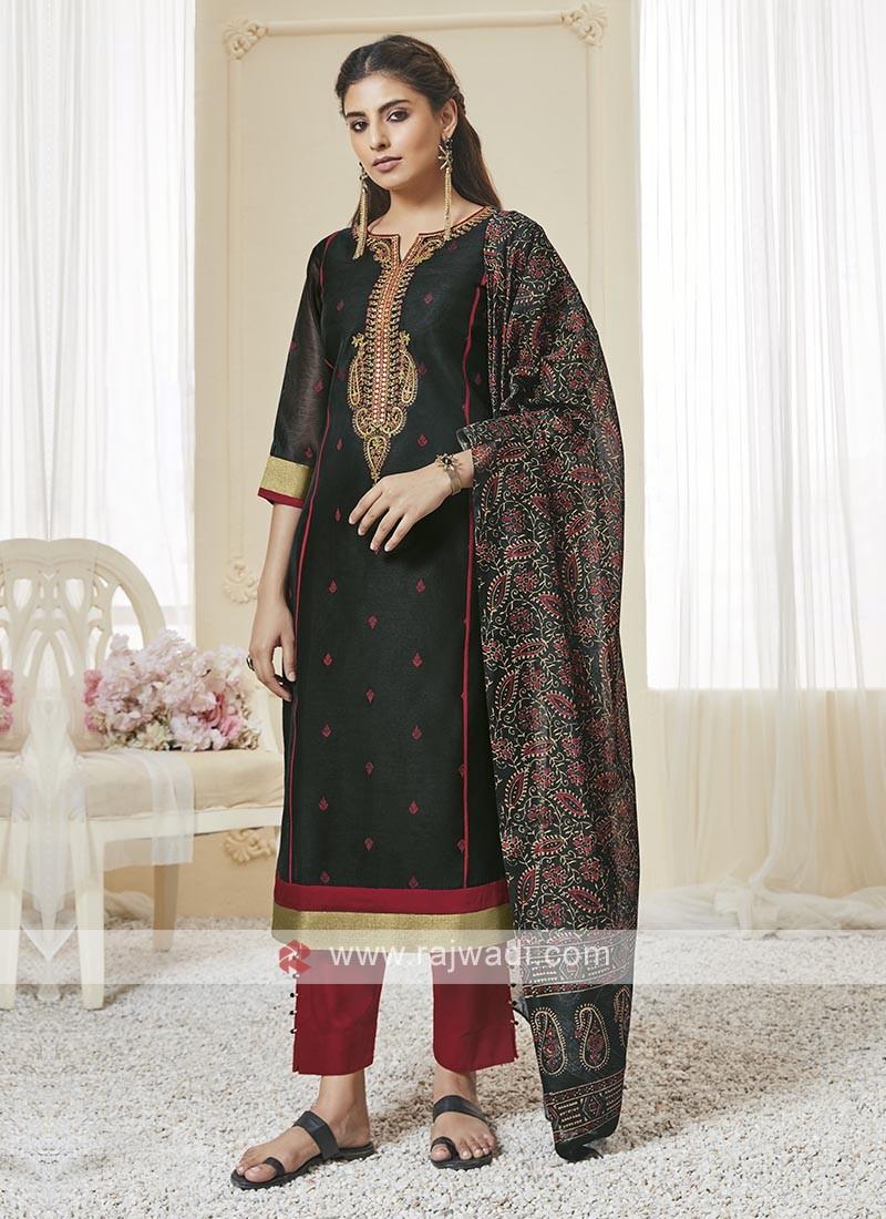 Shagufta Black And Red Pant Salwar Suit