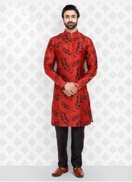 Black And Red Printed Kurta Pajama