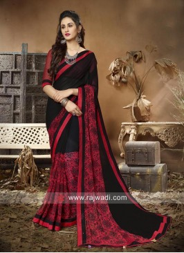 Black and Red Printed Saree