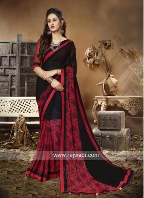 Black and Red Printed Saree