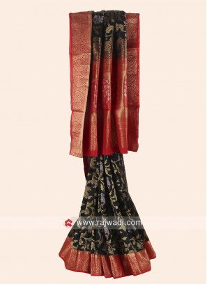 Black and Red Pure Silk Saree