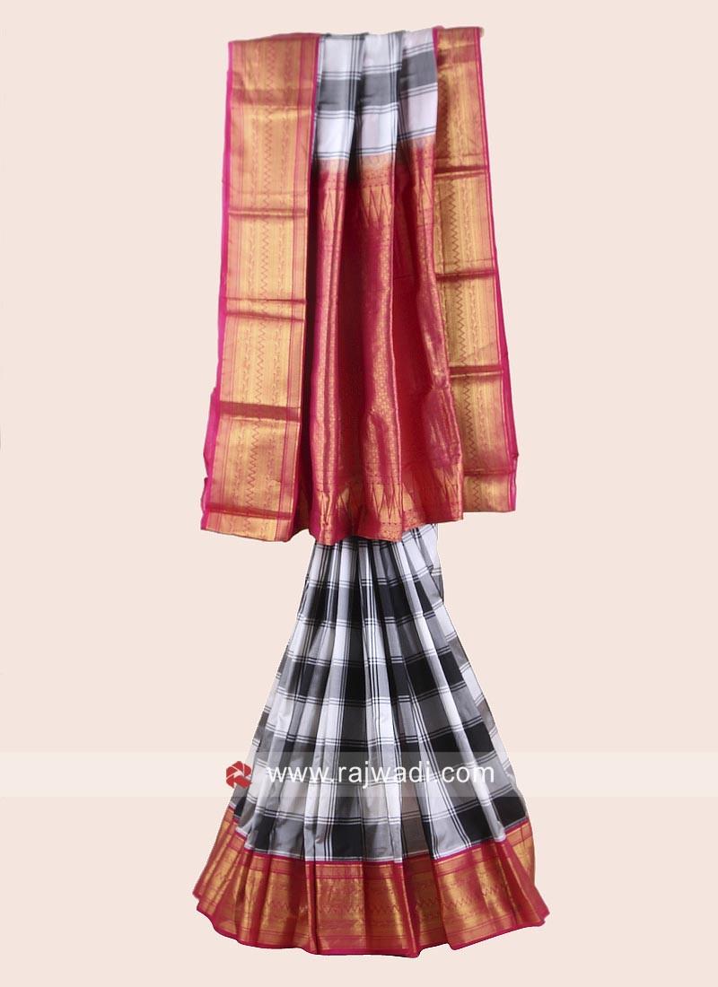 Black and White Checks Pure Silk Saree