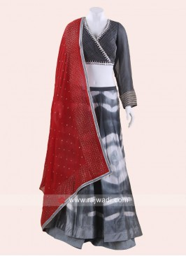 Black and White Double Layered Lehenga