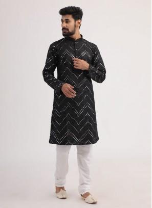 Black And White Kurta Pajama