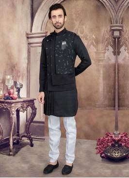 Black And White Nehru Jacket Set