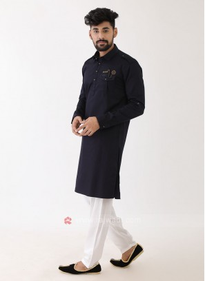 Black And White Pathani Suit