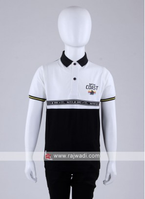 Black And White Polo T-Shirt