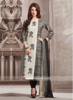 Dressline Black and White Resham Work Suit