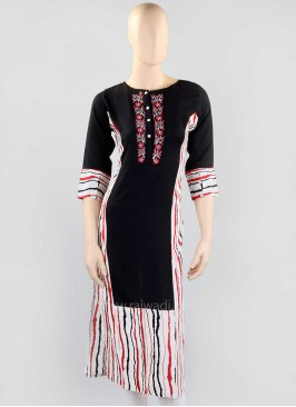 Black and White Straight Kurti