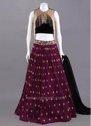 Black and Wine Designer Choli Suit