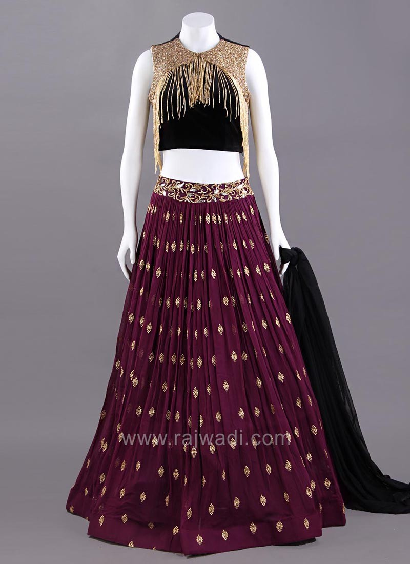 Black and Wine Designer Choli Suit