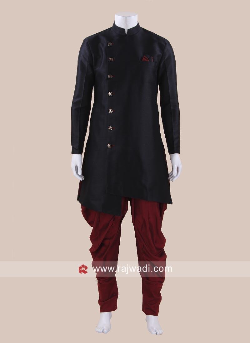 Black Art Silk Indo Western