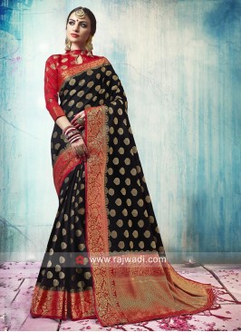 Black Banarasi Silk Saree with Border